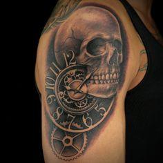Clock Tattoo by Stacy Smith Clock Tattoos, Grim Reaper Tattoo, Ink Master, Skull, Watch Tattoos, Skulls, Sugar Skull