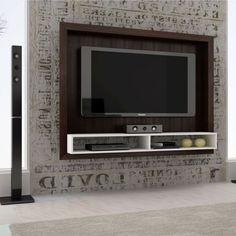 Painel para TV 1.4 BR 420-50 Tabaco & Branco com 2 Prateleiras Entertainment Wall, Led Panel, Tv Unit, Entertaining, Furniture, Home Decor, Foyer, Html, Arch