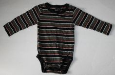 The Children's Place TCP Baby Boys 18 Months Longsleeve Bodysuit~Adorable Striped onesie with green, red,navy blue and white stripes. Great shirt for layering!   Tag says 18 Months, which in TCP clothing covers 12-18 Months, but my son wore them until 24 months.