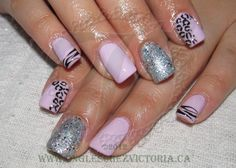 Shellac pink and silver, leopard
