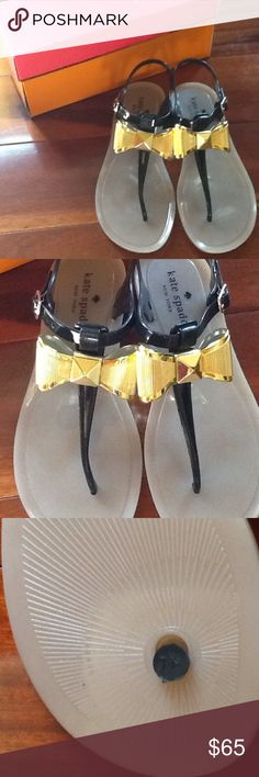 Kate Spade Jelly Sandals with Bows! Brand new Kate Spade Jelly Sandals with large gold metal bows. Black and Tan. Kate Spade Shoes Sandals