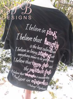 Perfect gift for BREAST CANCER PINK awareness fans PRE-ORDER your Believe custom printed tee by SmartyPantsBoutique