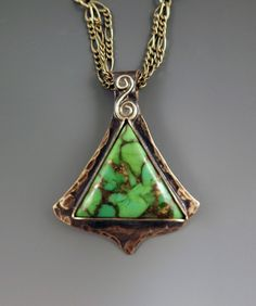 Mohave Green Turquoise Smokey Bronze Pendant/Necklace by RedPaw