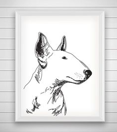 Bull Terrier Dog Art Print Home / Printable by AlakazooDesigns Mini Bull Terriers, English Bull Terriers, Bull Terrier Dog, Outline Drawings, Dog Illustration, Animal Sketches, Happy Art, Dog Portraits, Graffiti Art