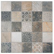 """Deco Maximiliano 17.5"""" x 17.5"""" Porcelain Textured Floor and Wall Tile in Multi"""
