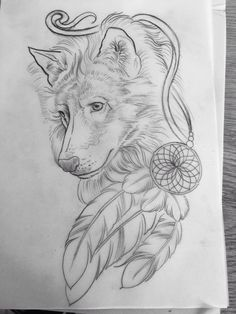 Boho Uno de un cazadoTattoo ideas The artwork for my custom wolf tattoo done by Age Grech from Sydney. I've known the wolf was my Spirit animal since I was 17 and despite having 4 other tattoos since then, the right artist for this one didn't come along til now. My love of Native American beliefs saw the dream catcher incorporated and the 3 feathers are for myself and my 2 special souls, my sons. #MyFavoriteTattoos