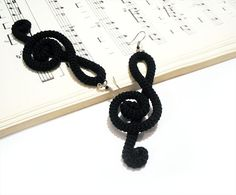 Treble Clef  Earrings - Crochet Black Earrings - G Clef Music Theory Jewelry - Fiber Wrapped Note - Musician Gift
