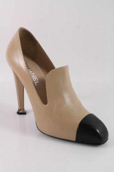 New Chanel Beige Black Leather Round Toe Stitch Trim Pumps Sz 40 5 9 in Box | eBay