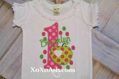 Apple of my Eye Birthday--Girly Apple Hot Pink and Lime Green--ANY age or number-- Girls Birthday Shirt--Embroidered shirt or bodysuit by XOXOAsh on Etsy