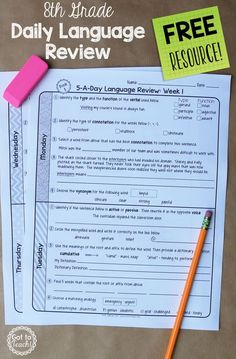 A free daily language review for 8th grade.  Review important grammar and vocabulary skills each day for one week.