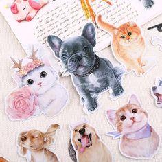 Don't miss out on these super cute kitties and puppies if you're an animal lover!  These stickers are perfect for decorating your journals and scrapbooks, or for sealing envelopes and wrapping gifts.  Details: 16 sheets per set  Shapes and sizes vary Translucent Made of top quality Washi paper with a layer of waterproo