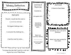 Weekly Reflections Think Book Free Sample- prompts and questions to help kids… Learning Log, Always Learning, Primary Teaching, Teaching Social Studies, Reflection Questions, Teachers Toolbox, Effective Teaching, Writing Resources, Too Cool For School
