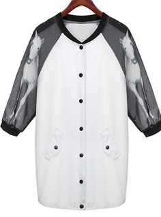 White Contrast Chiffon Half Sleeve Horse Print Coat - Sheinside.com