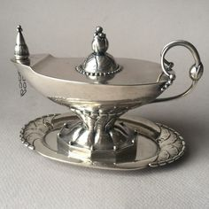 Georg Jensen Sterling Silver Oil Lamp and Tray No. 12