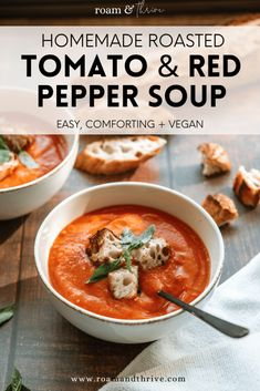 Heavenly Vegan Roasted Red Pepper and Tomato Soup Recipe