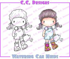 """C.C. Designs Swiss Pixie """"""""Watering Can Heidi"""""""" Rubber Stamp"""