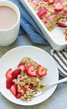 Strawberry Banana Baked Oatmeal - Kristine's Kitchen