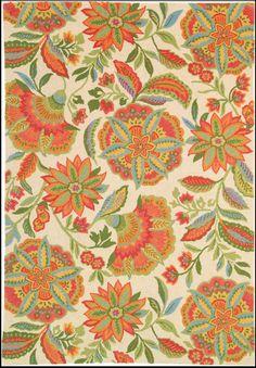 Jubilant Floral Rug, ivory
