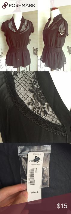 NWT black lace peplum top, size small NWT black lace peplum top, size small, comes with a camisole. jcpenney Tops Blouses