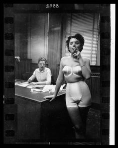 "df90a5da251 mudwerks  "" Stanley Kubrick  Lingerie model smoking in an office"