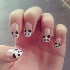 Panda bear Nail art DIY