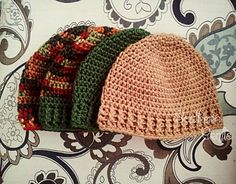 I was requested to make several hats for our local Tent City (homeless shelter) and needed a pattern that could work up quickly and I have created that. I managed to work up 4 of these hats in 3 hours. :)