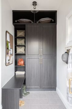 21 Mudroom Storage and Organization Ideas Mudroom Cabinets, Built In Cabinets, Built In Shelves, Custom Cabinets, Dark Cabinets, Ikea Ivar Cabinet, Tall Cabinet Storage, 1920s Interior Design, Ceiling Shelves
