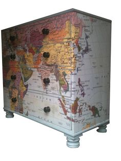 wish i could make one of these! www.notonthehighstreet.com - Bryonie Porter map chest of drawers