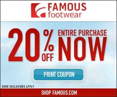 FAMOUS FOOTWEAR $$ Reminder: Coupon to Save an Extra 20% off Entire Purchase – EXPIRES TODAY (5/13)!