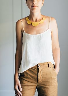 DIY leather scalloped necklace