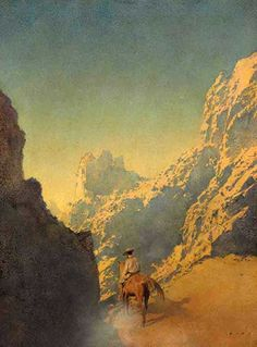 """Rawhide"" illustration by Maxfield Parrish, 1904 for McClure's Magazine (January 1905). Oil on paper, 16 x 20"" 