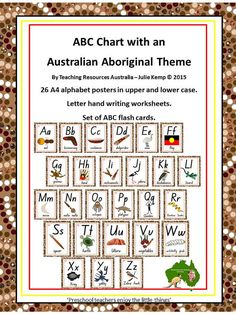 Aboriginal ABC Chart Flash Cards Letter by TeachingResourcesAus Aboriginal Art For Kids, Aboriginal Symbols, Aboriginal Education, Indigenous Education, Aboriginal Culture, Aboriginal Dreamtime, Aboriginal Painting, Indigenous Art, Letter Tracing Worksheets