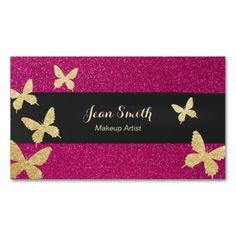 Modern Gold Butterflies Pink Glitter Makeup Artist Business Card Template