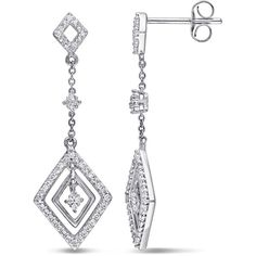 Amour Diamond Layered Drop Earrings ($322) ❤ liked on Polyvore featuring jewelry, earrings, silver, drop earrings, geometric earrings, round diamond earrings, diamond drop earrings and white earrings