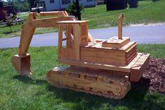 Nice wooden tracked excavator.