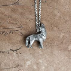 Howling Wolf Necklace  February / March Birth Totem by leanimale, $29.00