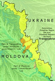 Potential hot spot -- Political map of Transnistria with the differences between the Autonomous Dniestrian Territory de jure and the Pridnestrovian Moldavian Republic de facto.