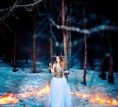 Snow, fire and gold. Winter fantasy photoshoot. Fantasy photography. Find more in my instagram account @nika_chequerwise