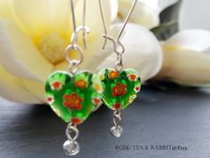 Drop/Dangle Earrings - Kelly Green Heart Shaped Millefiori Glass Beads - Silver Lined Faceted Crystal Bead Detail - Silver Plated Ear Wires by RoseTeaAndRabbit on Etsy