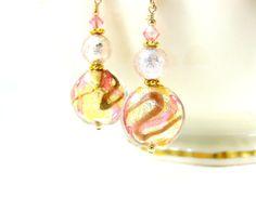 Murano Earrings Gold Pink Coral Earrings by GlassRiverJewelry