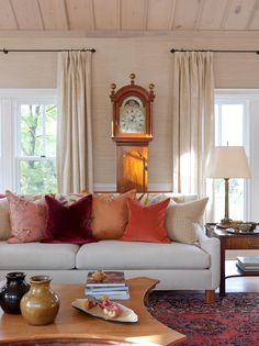 neutral color with burst of color with hues of orange, cooper, and wine