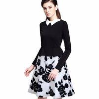 Women Elegant Floral Print Long Sleeved A-line Dress Classic Turn-down Collar Peplum Dress EA027