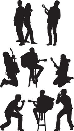 Music Silhouette, Silhouette Cameo, People Png, Architecture People, Sketches Of People, Art Music, Vector Art, Illustration, Stencils