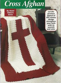 Cross Afghan Crochet Pattern Religious Blanket Throw Home Decor P-094 by PatternMania3 on Etsy