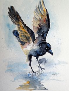 ARTFINDER: Crow on ice by Kovács Anna Brigitta - Original watercolour painting on high quality watercolour paper. I love landscapes, still life, nature and wildlife, lights and shadows, colorful sight. Thes...