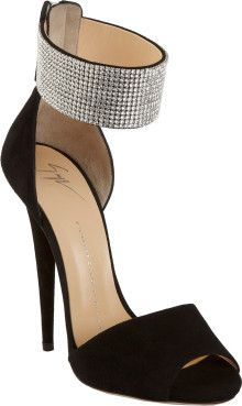 Giuseppe Zanotti Crystal Ankle Cuff Sandal - Black www.finditforweddings  shoes