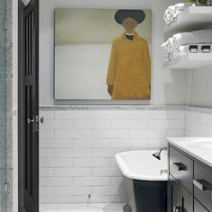 Halfway Up Subway Tiles With Trim Tiles Design, Pictures, Remodel, Decor and Ideas- upstairs bathroom