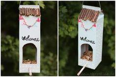 Home Sweet Home : DIY Vogelhäuschen _rheinherztelbe. Bird Feeder Plans, Diy Bird Feeder, Diy For Kids, Crafts For Kids, Diy Crafts, Tetra Pack, Diys, Diy Simple, Small Woodworking Projects