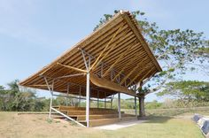 Gallery of Arkansas State Veterans Cemetery at Birdeye / F Bamboo Structure, Timber Structure, Modern Tropical House, Tropical Houses, Bamboo Architecture, Sustainable Architecture, Cabana, Wood Truss, African House
