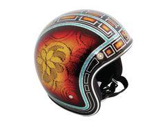 metal flake custom old school helmet